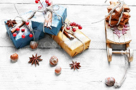 Santa's sleigh and gift. Christmas card