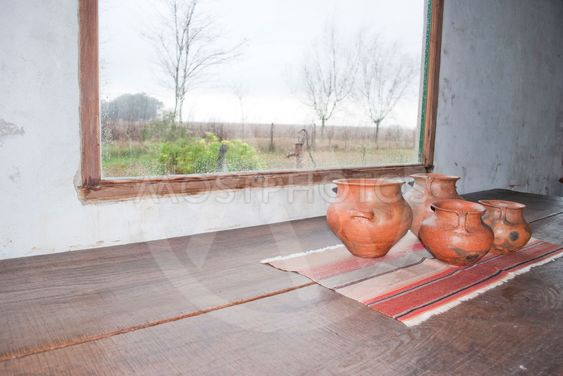 clay pots in the window