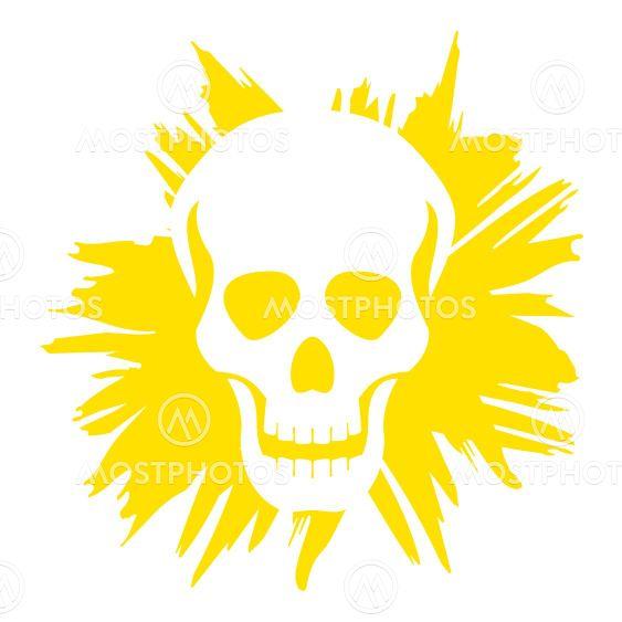Grunge skull with ironic laugh