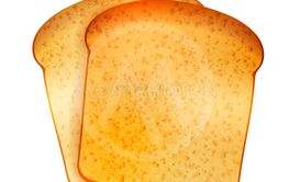 Couple of bright realistic tasty toasts on white