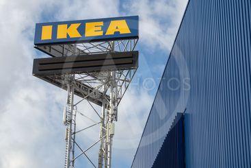 Large IKEA signboard near IKEA store in Utrecht, the...