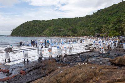 Oil spill on Thailand beach.