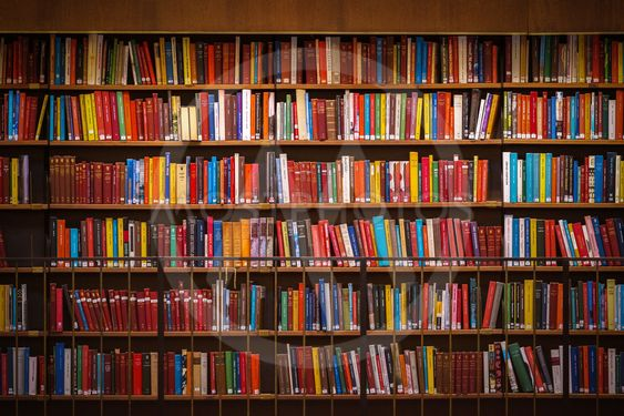 Colorful wall of books on the shelfs at the rotunda in...