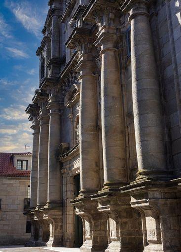 Stone columns of a church in Galicia