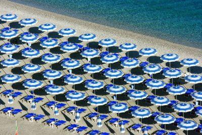 Scilla beach umbrellas from above