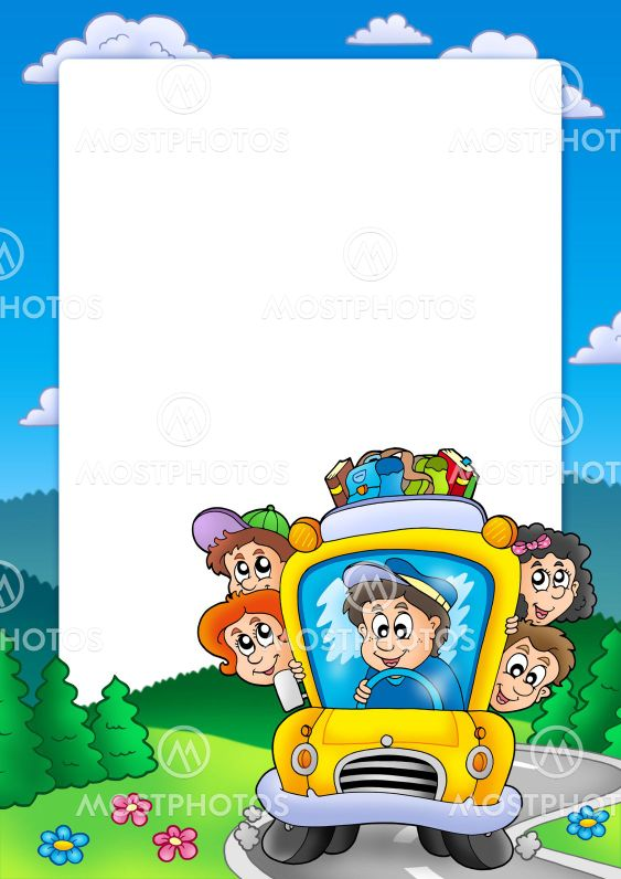 Frame with school bus\