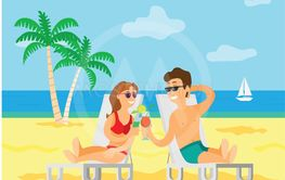 People on Vacation, Summer Beach with Palm Tree