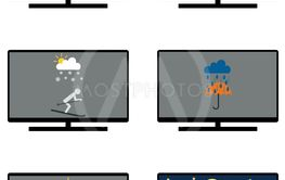 Various weathers symbols and leisure activities on monitor