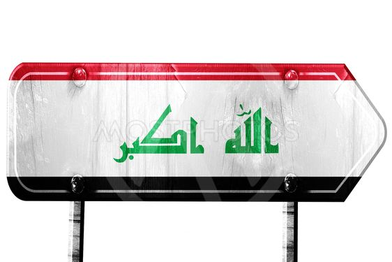 Iraq flag, 3D rendering, road sign on white background