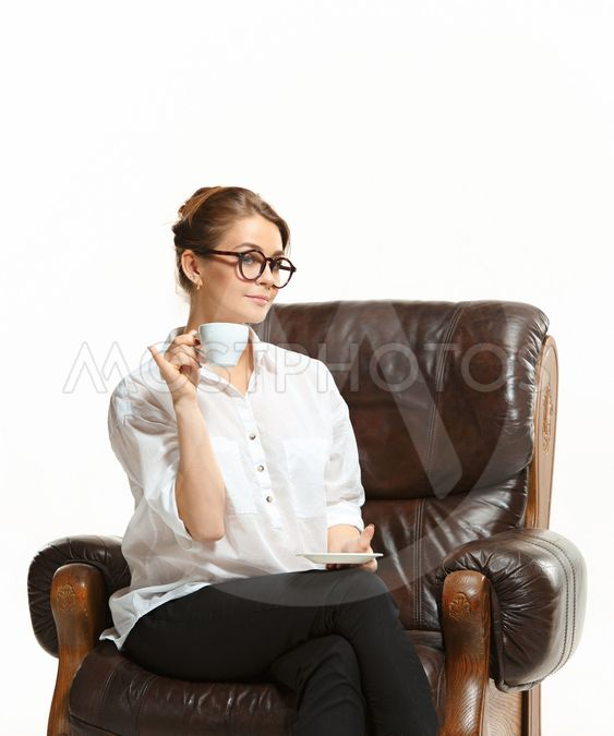 attractive businesswoman have a coffee break