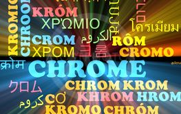 Chrome multilanguage wordcloud background concept glowing