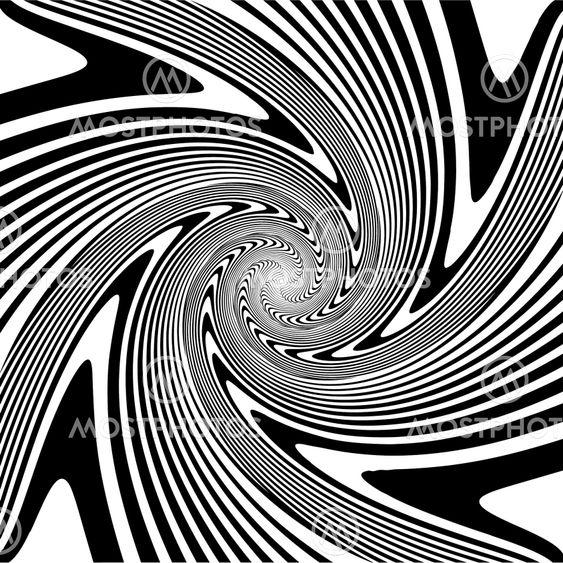 Design monochrome spiral movement illusion background....