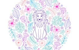 pattern with lion and tropical flowers