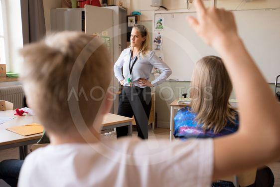 uppmärksam skolklass