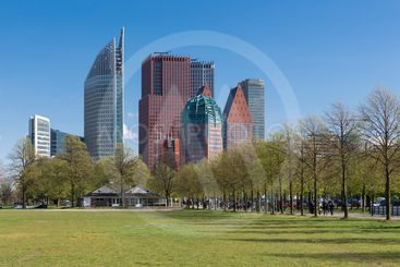 Skyline The Hague with skyscrapers and city park, The...