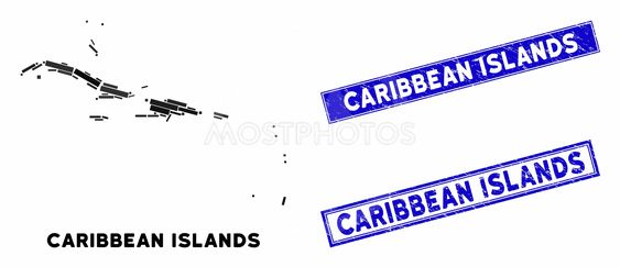 Mosaic Caribbean Islands Map and Scratched Rectangle Stamps
