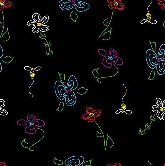 black background patterns. Flower Pattern on Black,