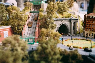Toy miniature city Budapest in Hungary. A funicular next...