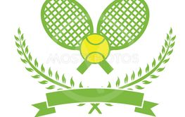 Stock Illustration Tennis Logo with Wreath and Ribbon