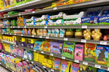 The chocolate bunny and easter candy aisle of a Publix...