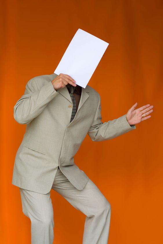 Paper face businessman