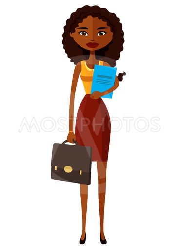 African banker or worker lady with briefcase flat...