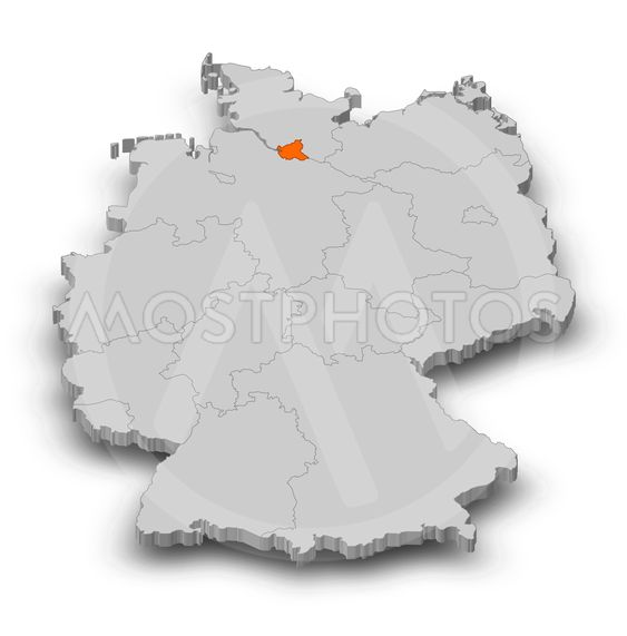 Map - Germany, Hamburg - 3D-Illustration