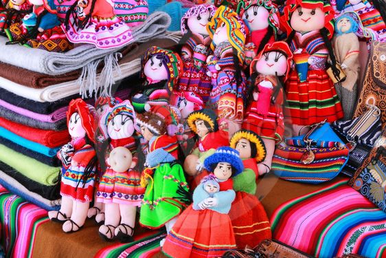 Display of traditional souvenirs at the market in Maca...