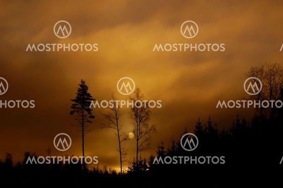 Soluppgång med måne