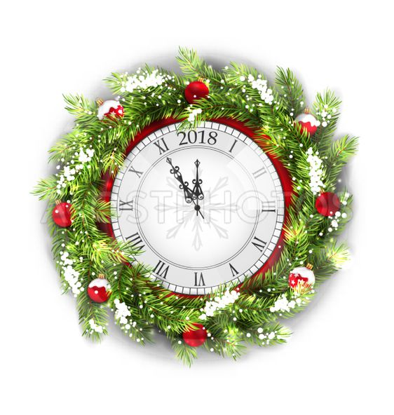 Christmas Wreath with Clock, New Year Decoration on White...