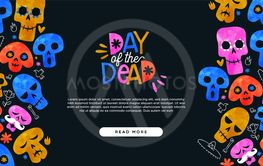 Day of dead cartoon skull landing page template