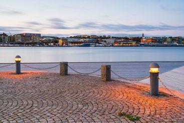 Pier with lanterns at Gothenburg harbor