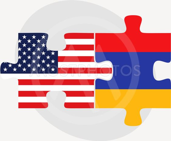 USA and Armenia Flags in puzzle