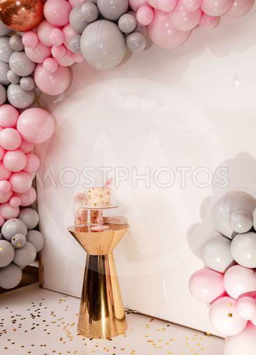 Delicious wedding reception. Birthday Cake on a...