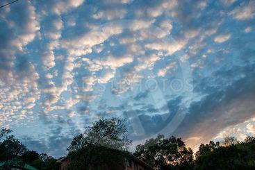 Magnificent white Cirrus cloud in blue sky.