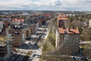 Utsikt över Sundbyberg från ett av Tuletornen,...