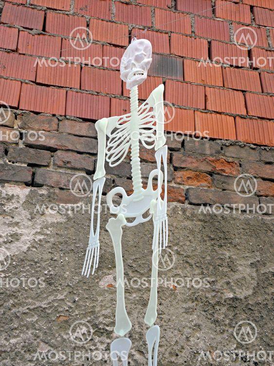 Funny shining skeletons at Halloween's instalation,...