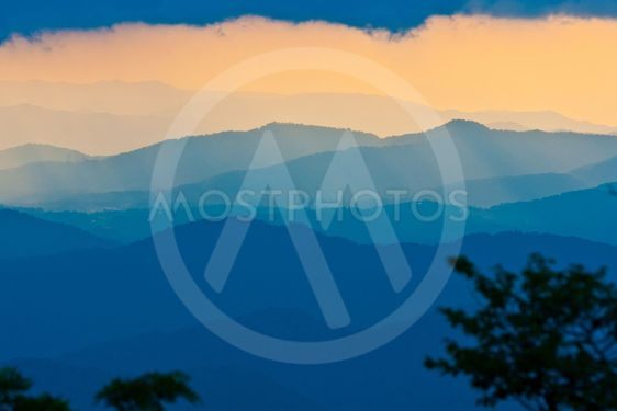sunset on the Blue Ridge Parkway in North Carolina