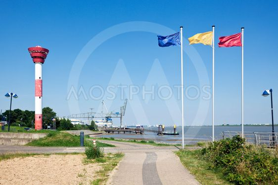 Nordenham, lighthouse and harbor