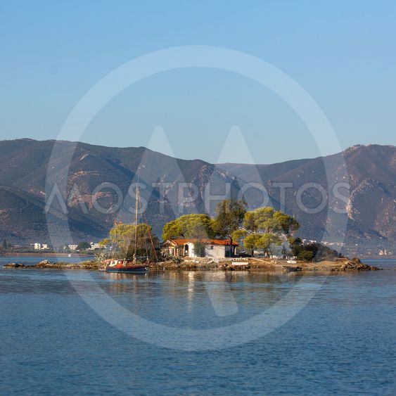 Small island in the Saronic Gulf, Greece.