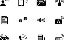 Communication solid icon set