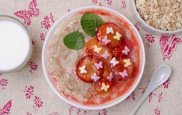 Oatmeal for baby feeding with plum jam