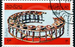 Postage stamp Laos 1984 tuned drums, musical instrument