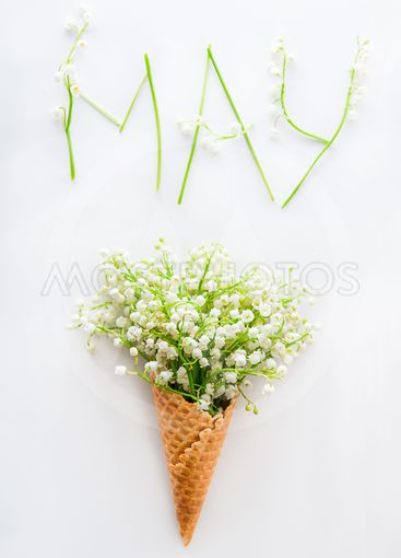 White card with word May - letters made of flowers and...