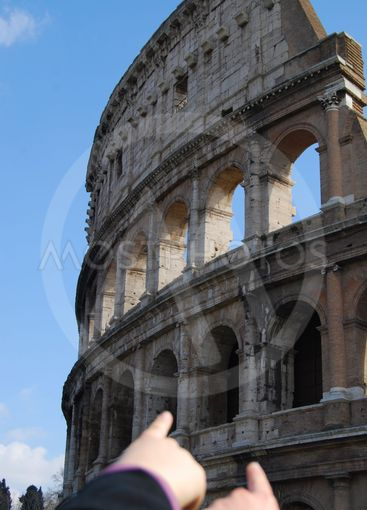 Coliseum at Rome (Italy) - Tourists indicate it