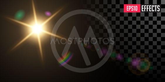 Sun. Vector Transparent Star Special Lens Flare Light...