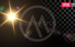 Sun. Vector Transparent Star Special Lens Flare Light...
