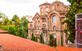 Exterior view of the Byzantince chuch of Panagia Chalkeon...