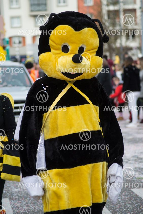Portrait of people with bee costume parading in the street