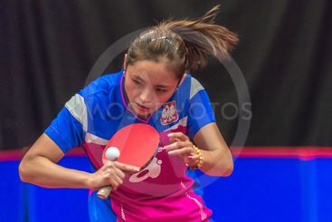 Hitomi Sato (JPN) vs Li Qian (POL) at the table tennis...